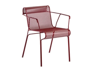 Steel garden chair with armrests TREBOL | Chair with armrests