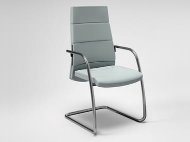 Cantilever leather reception chair with armrests TRENDY FIRST CLASS | Reception chair