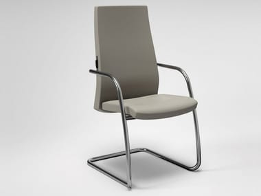 Cantilever leather reception chair with armrests TRENDY | Reception chair