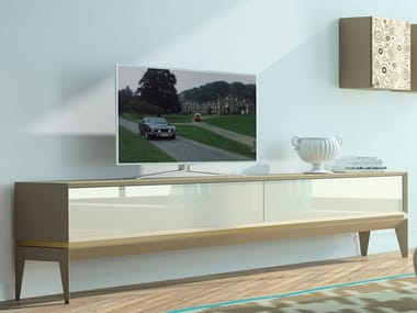 Lacquered beech TV cabinet with drawers TRIANGLE PLAIN | TV cabinet