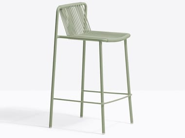 High powder coated steel stool with back TRIBECA 3667