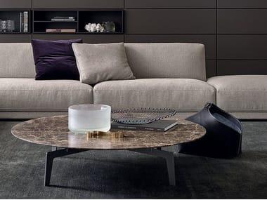 Tavolino basso rotondo in rovere TRIBECA | Tavolino basso