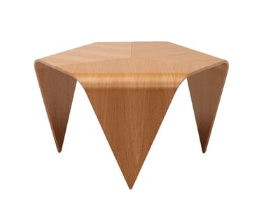 Hexagonal wood veneer coffee table TRIENNA TABLE | Coffee table