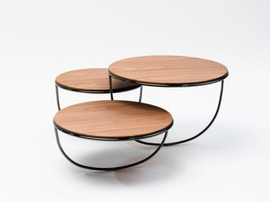 Low wooden coffee table TRIO