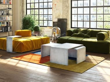 Low modular rectangular concrete coffee table TRIO SET