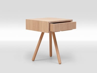 Square English oak bedside table with drawers TRIPOD OAK | Bedside table with drawers
