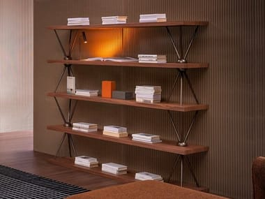 Open wooden bookcase TRIPODIO