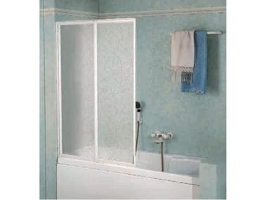 Box doccia angolare quadrato in vetro acrilico in stile moderno con porta scorrevole TRIS   2PV