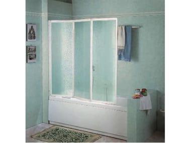 Box doccia angolare quadrato in vetro acrilico in stile moderno con porta scorrevole TRIS   3PV