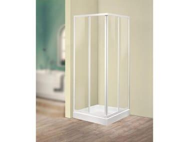 Box doccia angolare quadrato in vetro acrilico in stile moderno con porta scorrevole TRIS | A2