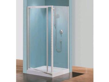 Box doccia angolare quadrato in vetro acrilico in stile moderno con porta scorrevole TRIS   F
