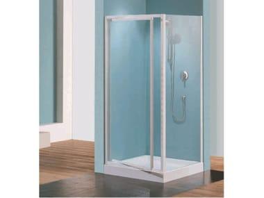 Box doccia angolare quadrato in vetro acrilico in stile moderno con porta scorrevole TRIS   G