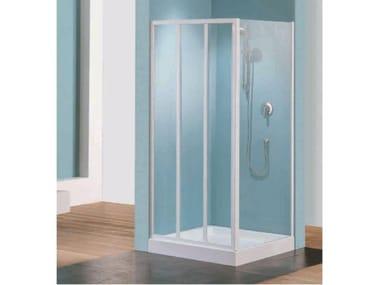Box doccia angolare quadrato in vetro acrilico in stile moderno con porta scorrevole TRIS | P