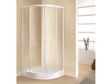 Box doccia angolare quadrato in vetro acrilico in stile moderno con porta scorrevole TRIS | R
