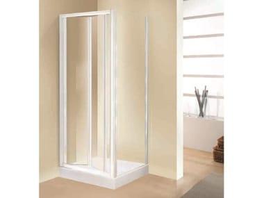 Box doccia angolare quadrato in vetro acrilico in stile moderno con porta scorrevole TRIS   S