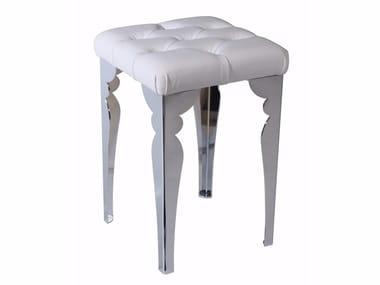 Upholstered leather stool TRONO