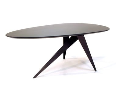 Steel and wood table TROUVE 3-LEGS