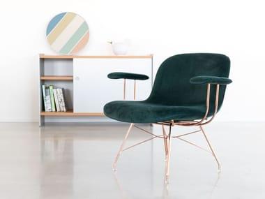 Upholstered velvet easy chair with armrests TROY | Easy chair with armrests