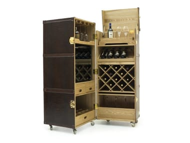 Leather bar cabinet with casters TRUNK | Bar cabinet