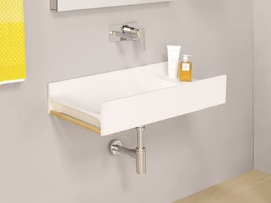 Wall-mounted Livingtec® washbasin with towel rail TT