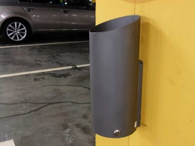 Wall-mounted outdoor stainless steel litter bin TUBO OZ