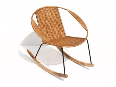 Rocking easy chair with armrests TUCURINCA RATTAN | Rocking easy chair