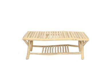 Tavolino da giardino rettangolare in teak TULUM | Tavolino rettangolare