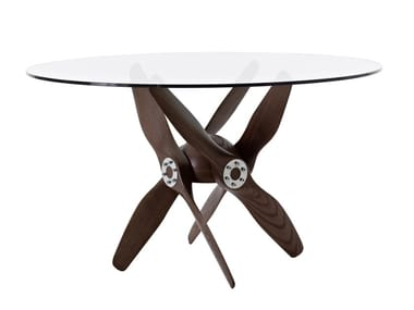 Height-adjustable round wood and glass table TUPOLEV