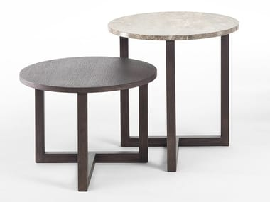Round marble and wood coffee table TWINS | Round coffee table
