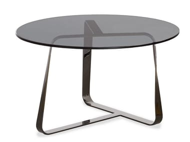Round crystal and steel coffee table TWISTER | Round coffee table