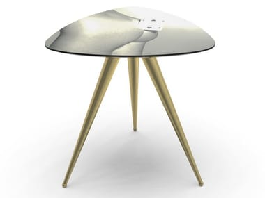 Triangular coffee table with MDF top and metal legs TWO OF SPADES | Coffee table