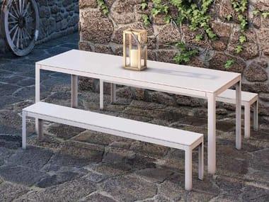 Extending rectangular powder coated aluminium table TYPE FOR OUT | Rectangular table