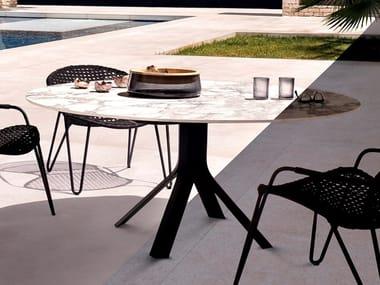Round drop-leaf aluminium table FIZZ BIG