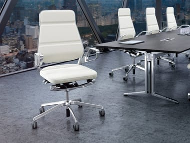 Swivel leather task chair with 5-Spoke base AURAY | Task chair