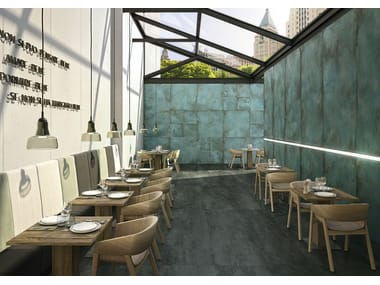 Porcelain stoneware wall/floor tiles with metal effect TRACE MINT PROJECT EVOLUTION