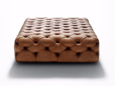 Tufted leather pouf Tufted pouf