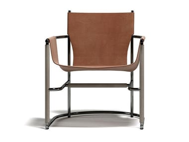 Armchair with armrests in metal and leather U