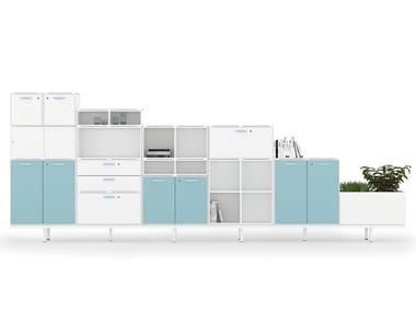 Mobile ufficio modulare in nobilitato con ante a battente UBI EVO | Mobile ufficio in nobilitato
