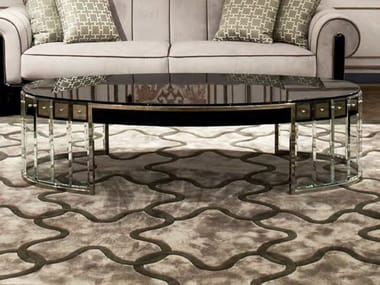 Low oval glass coffee table for living room ULRICH | Coffee table