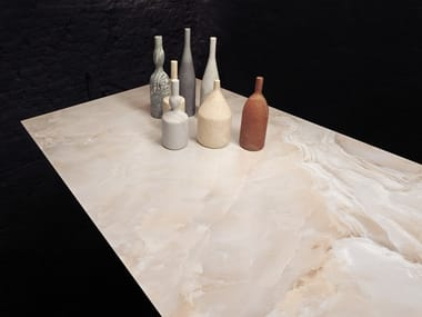Porcelain stoneware wall/floor tiles with marble effect ULTRA ONICI - ONICE PESCA