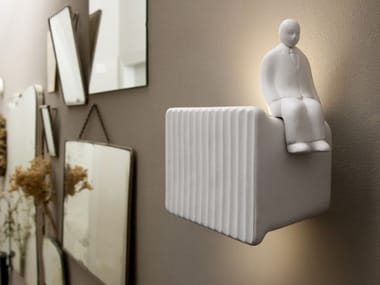 LED direct-indirect light ceramic wall light UMARELL