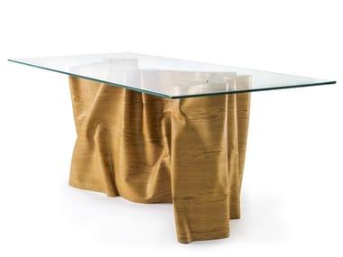 Tavolo da salotto rettangolare in rovere e cristallo UNA | Tavolo