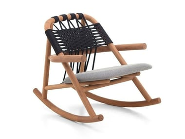 Rocking iroko garden armchair with armrests UNAM OUT 19/C