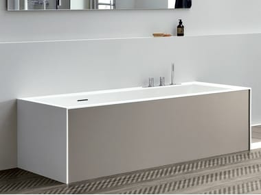 Rectangular Corian® bathtub UNICO WITH PANELS