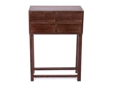 Rectangular solid wood console table with drawers UNITY