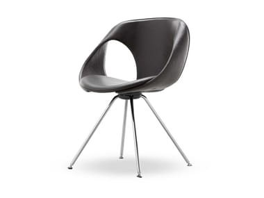 Trestle-based leather chair UP CHAIR   Leather chair