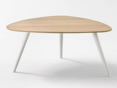 Lacquered triangular wooden coffee table UP