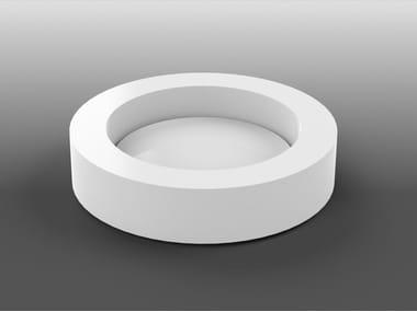 Lavabo da appoggio rotondo singolo in Corian® UP | Lavabo rotondo