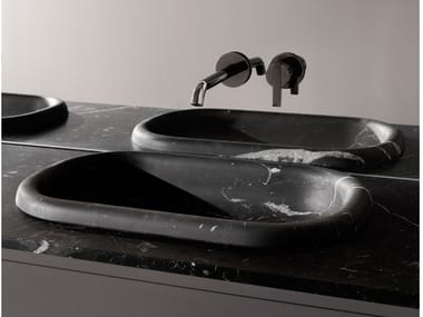 Semi-inset oval marble washbasin with integrated countertop UPDOWN | Washbasin with integrated countertop