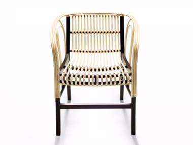 Woven wicker chair with armrests URAGANO